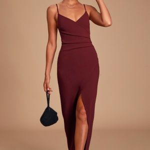 Sweetest Admirer Burgundy Ruched Surplice Maxi